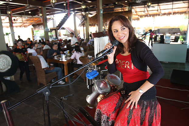 Photograph of Betty Banafe Singing at Banafee Village